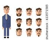 set of flat vector bearded men... | Shutterstock .eps vector #613571585
