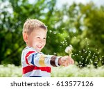 portrait of a smiling funy boy... | Shutterstock . vector #613577126