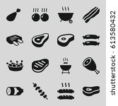 barbecue icons set. set of 16... | Shutterstock .eps vector #613580432