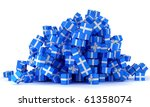 Heap Of Blue Gift Boxes With...