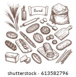 bread and ingredients. big set. ... | Shutterstock .eps vector #613582796
