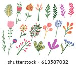 hand drawn colorful vintage... | Shutterstock .eps vector #613587032