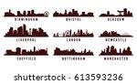 set of great britain big cities ... | Shutterstock .eps vector #613593236