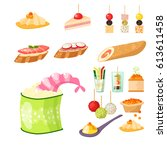 various meat canape snacks... | Shutterstock .eps vector #613611458