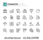 outline icons about finances....   Shutterstock .eps vector #613613498