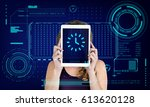 clock time reminder alarm... | Shutterstock . vector #613620128