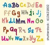 hand drawn alphabet. brush... | Shutterstock . vector #613621832