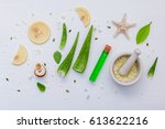 homemade skin care with natural ...   Shutterstock . vector #613622216