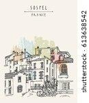 nice antique houses in sospel ... | Shutterstock .eps vector #613638542