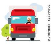 vector arab truck driver. flat... | Shutterstock .eps vector #613644902