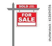 basic for sale sign with sold... | Shutterstock .eps vector #613654556