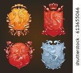vector set of various heraldic... | Shutterstock .eps vector #613655066