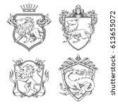 vector set of various heraldic... | Shutterstock .eps vector #613655072