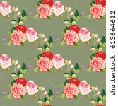 seamless floral pattern three... | Shutterstock .eps vector #613664612