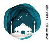 ramadan kareem greeting card... | Shutterstock .eps vector #613668005