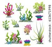 set of different underwater... | Shutterstock .eps vector #613671998