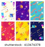 memphis style covers set with... | Shutterstock .eps vector #613676378