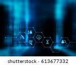 fintech icon  on abstract... | Shutterstock . vector #613677332