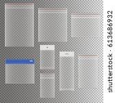 transparent plastic pocket bags ... | Shutterstock .eps vector #613686932