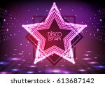 Neon Sign Disco Star On Night...