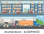 transport company interior.... | Shutterstock .eps vector #613694432