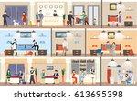 hotel interior set. reception...   Shutterstock .eps vector #613695398