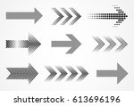 vector halftone arrows.dots... | Shutterstock .eps vector #613696196