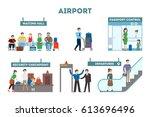 airport interior set. waiting... | Shutterstock .eps vector #613696496