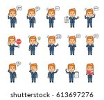 set of chibi man characters... | Shutterstock .eps vector #613697276