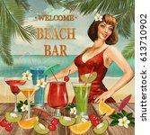 vintage beach bar poster. | Shutterstock . vector #613710902