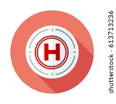 helipad flat icon with long...