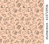 seamless pattern with shopping... | Shutterstock .eps vector #613715936