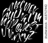 hand drawn dry brush font.... | Shutterstock .eps vector #613717442