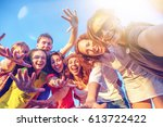 a group of young people friends ... | Shutterstock . vector #613722422