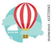 hot air balloon in the sky with ... | Shutterstock .eps vector #613725062