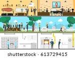 funeral service interior set.... | Shutterstock .eps vector #613729415
