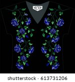 embroidery of ethnic flowers on ... | Shutterstock .eps vector #613731206