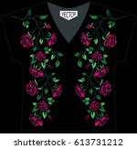 embroidery of ethnic flowers on ... | Shutterstock .eps vector #613731212