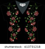 embroidery of ethnic flowers on ... | Shutterstock .eps vector #613731218