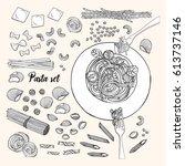 set of different types pasta.... | Shutterstock .eps vector #613737146