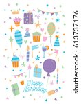 happy birthday card. vector... | Shutterstock .eps vector #613737176