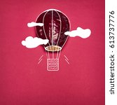 Small photo of The pop art collage of red cabbage and aerostat on red background