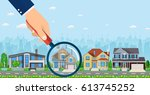 magnifying glass with house.... | Shutterstock . vector #613745252