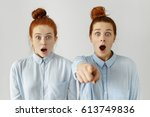 funny frightened sisters... | Shutterstock . vector #613749836