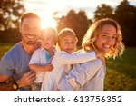 cheerful wife and husband with...   Shutterstock . vector #613756352