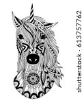 zendoodle stylized unicorn head ... | Shutterstock .eps vector #613757762