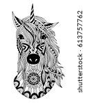 zendoodle stylized unicorn head ... | Shutterstock .eps vector #613757762