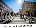 crowd of anonymous people... | Shutterstock . vector #613758362