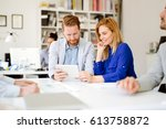 business meeting and... | Shutterstock . vector #613758872