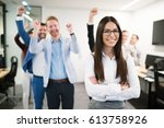portrait of group of successful ...   Shutterstock . vector #613758926